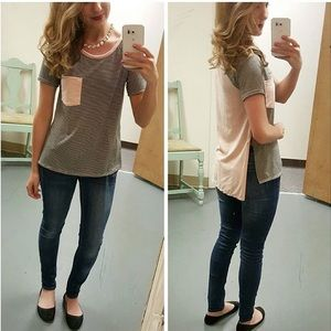 Suede Pocket Top, Size Small